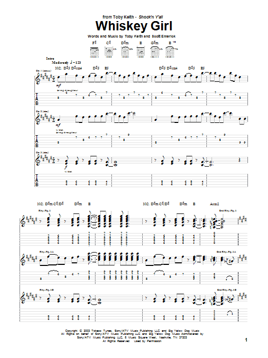 Whiskey Girl Sheet Music