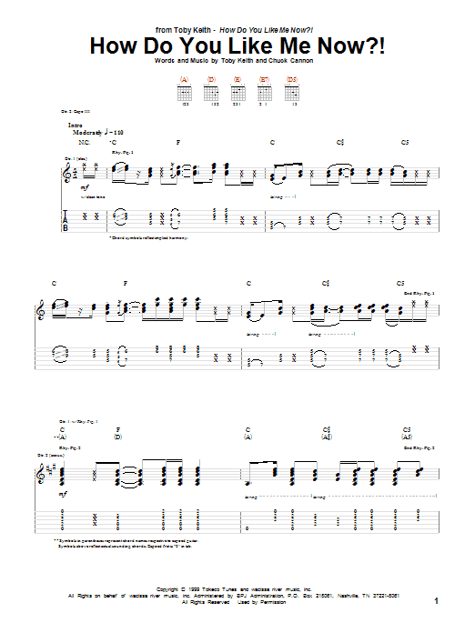 Tablature guitare How Do You Like Me Now?! de Toby Keith - Tablature Guitare