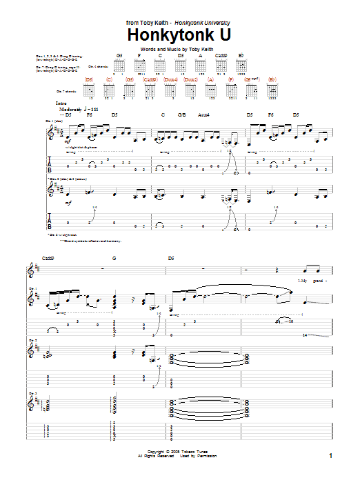 Honkytonk U Sheet Music