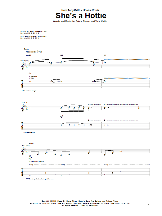 Tablature guitare She's A Hottie de Toby Keith - Tablature Guitare
