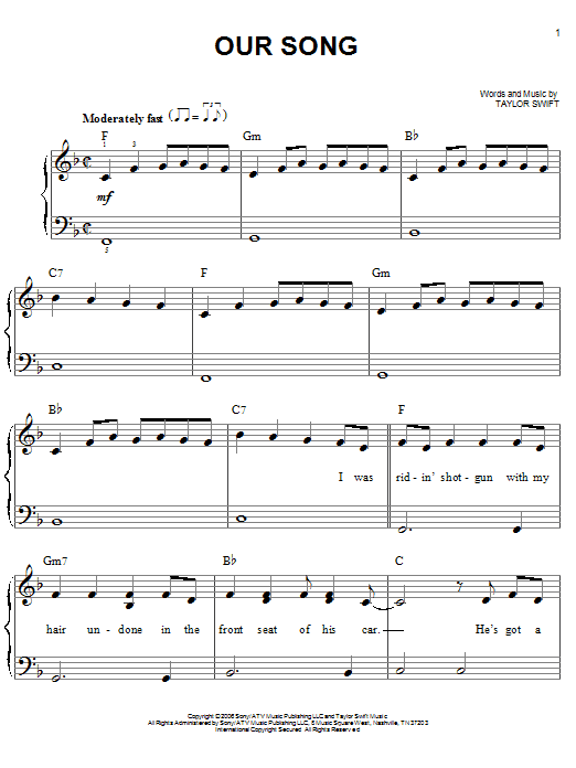 Our Song Sheet Music
