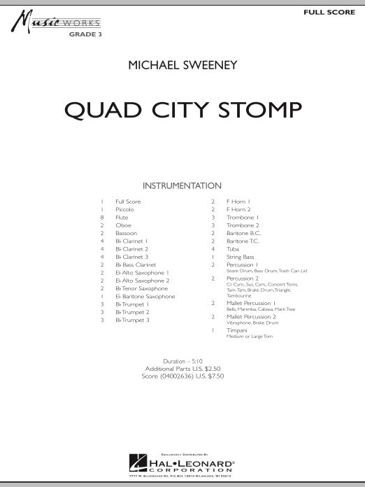 Quad City Stomp (COMPLETE) sheet music for concert band by Michael Sweeney. Score Image Preview.