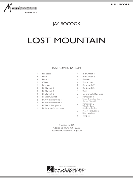 Lost Mountain (COMPLETE) sheet music for concert band by Jay Bocook. Score Image Preview.