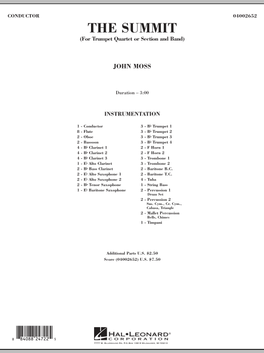 The Summit (COMPLETE) sheet music for concert band by John Moss. Score Image Preview.