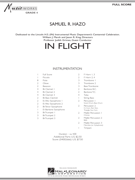In Flight (COMPLETE) sheet music for concert band by Samuel R. Hazo. Score Image Preview.