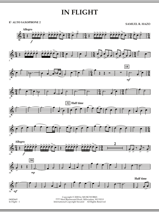 In Flight - Eb Alto Saxophone 2 (Concert Band)