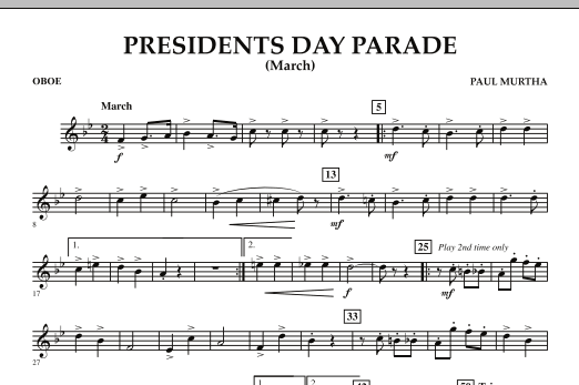 Presidents Day Parade (March) - Oboe (Concert Band)