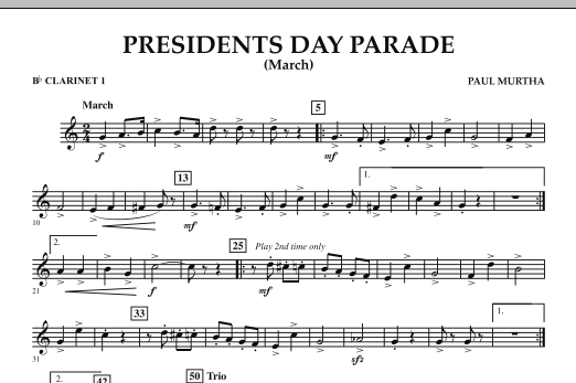 Presidents Day Parade (March) - Bb Clarinet 1 (Concert Band)