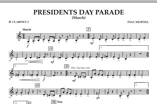 Presidents Day Parade (March) - Bb Clarinet 2 (Concert Band)