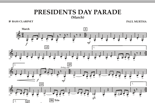 Presidents Day Parade (March) - Bb Bass Clarinet (Concert Band)