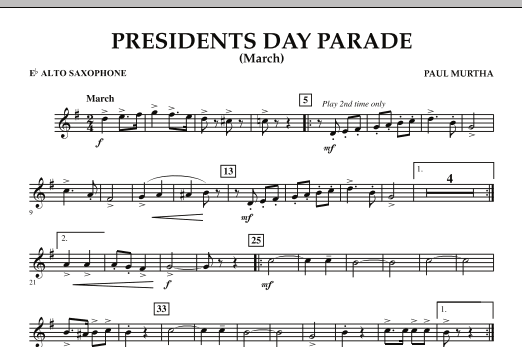 Presidents Day Parade (March) - Eb Alto Saxophone (Concert Band)