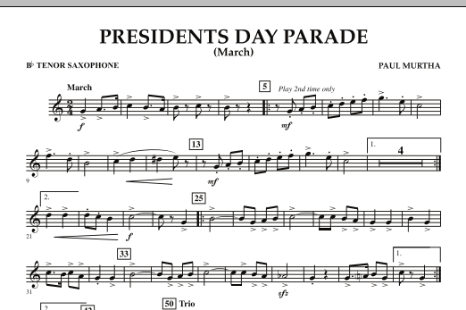 Presidents Day Parade (March) - Bb Tenor Saxophone (Concert Band)
