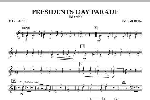 Presidents Day Parade (March) - Bb Trumpet 1 (Concert Band)