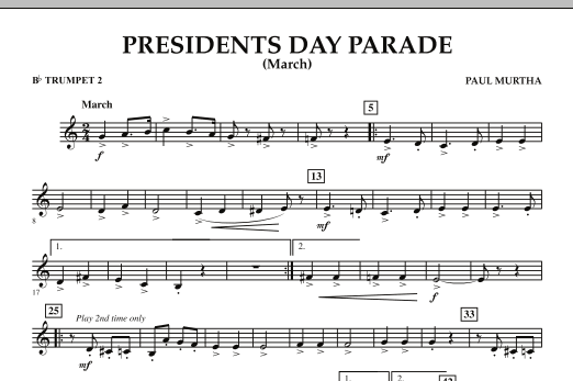 Presidents Day Parade (March) - Bb Trumpet 2 (Concert Band)