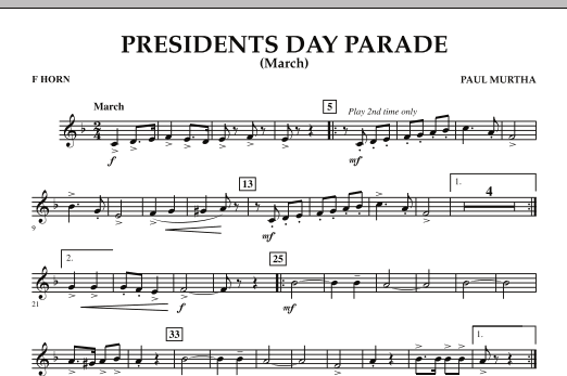 Presidents Day Parade (March) - F Horn (Concert Band)