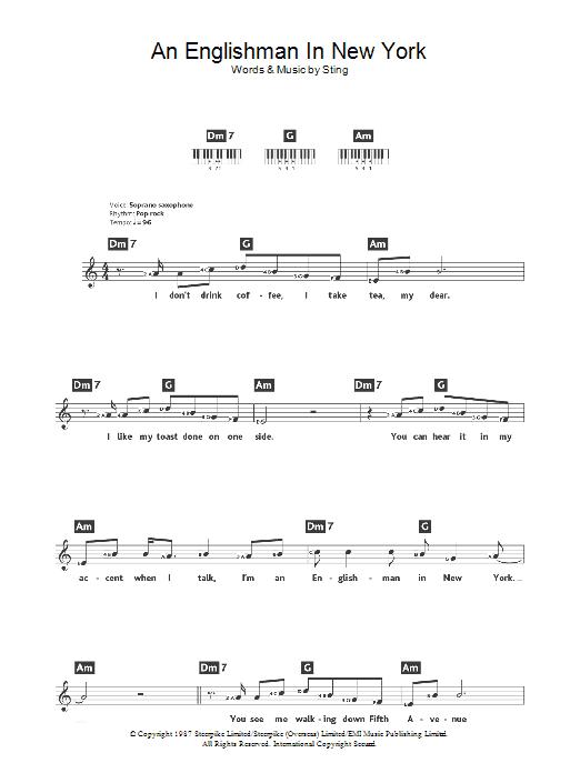 An Englishman In New York (Piano Chords/Lyrics)
