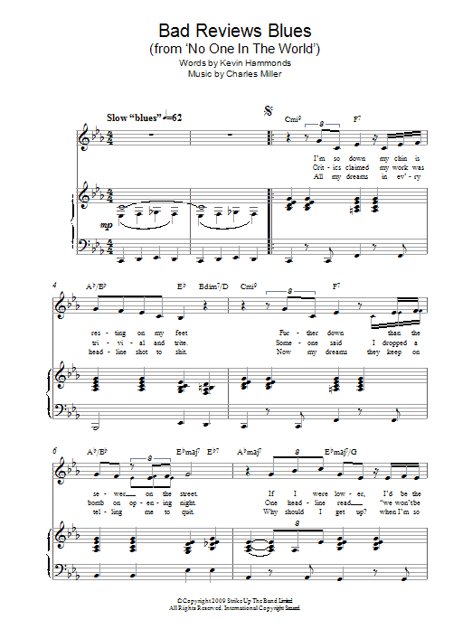 Bad Reviews Blues (from No One In The World) Sheet Music