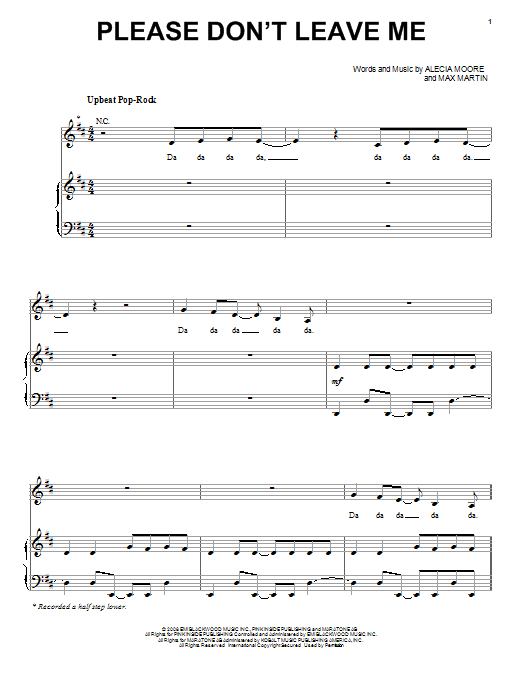 Please Don't Leave Me Sheet Music