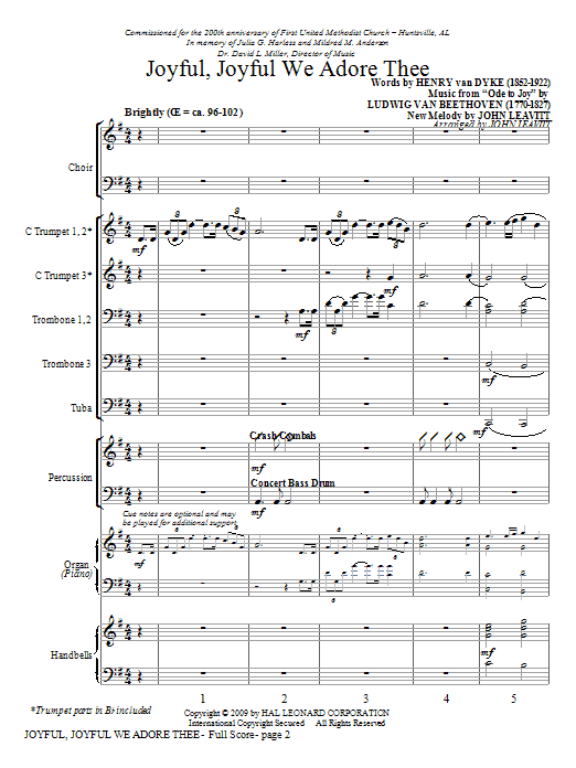 Joyful, Joyful, We Adore Thee (COMPLETE) sheet music for orchestra/band (Instrumental Accompaniment) by John Leavitt. Score Image Preview.