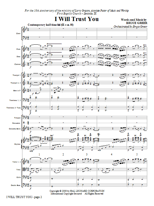 I Will Trust You (COMPLETE) sheet music for orchestra/band (Orchestra) by Bruce Greer. Score Image Preview.