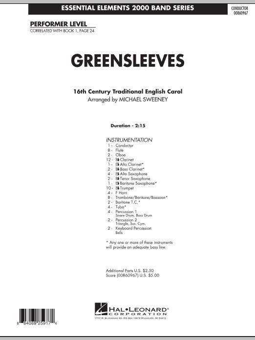 page one of Greensleeves - Full ScoreASALTTEXT