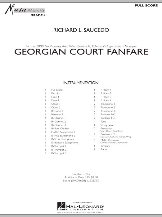 Georgian Court Fanfare (COMPLETE) sheet music for concert band by Richard L. Saucedo. Score Image Preview.