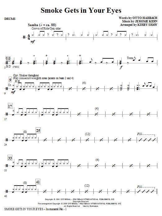 Smoke Gets in Your Eyes (arr. Kirby Shaw) - Drums (Choir Instrumental Pak)