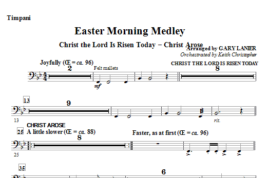 Easter Morning Medley - Timpani Sheet Music