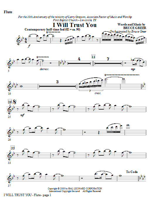 I Will Trust You - Flute Sheet Music