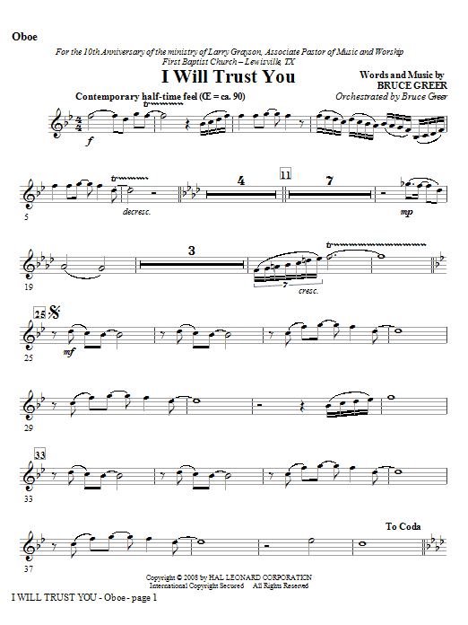 I Will Trust You - Oboe Sheet Music