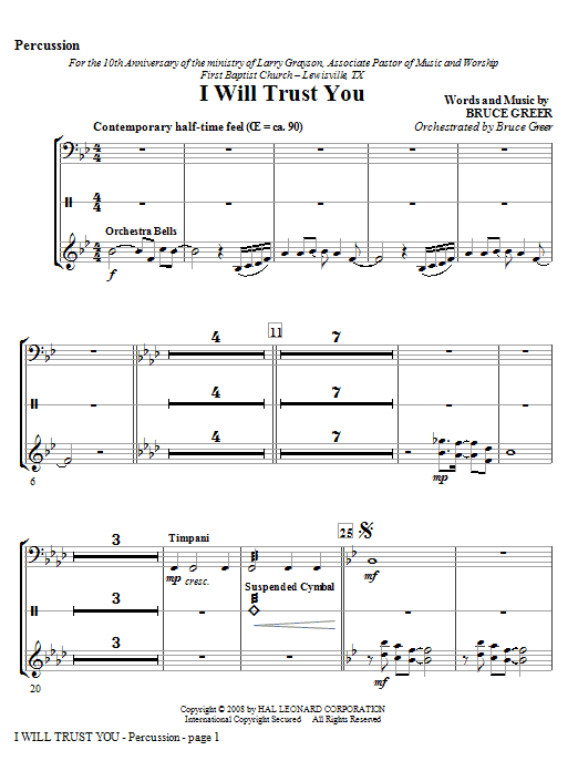 I Will Trust You - Percussion Sheet Music