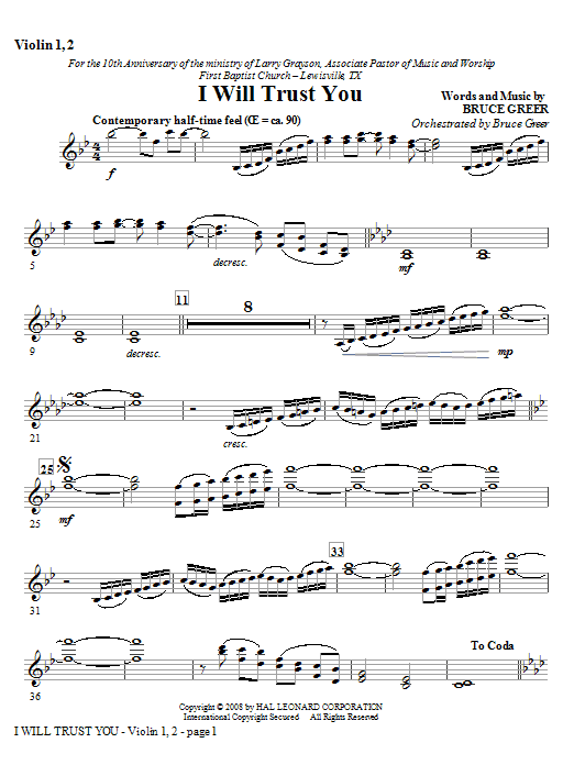 I Will Trust You - Violin 1, 2 Sheet Music