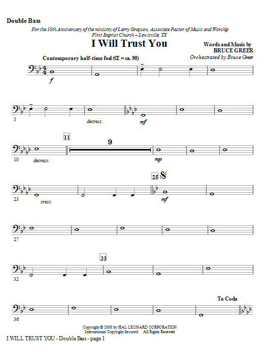 I Will Trust You - Double Bass Sheet Music
