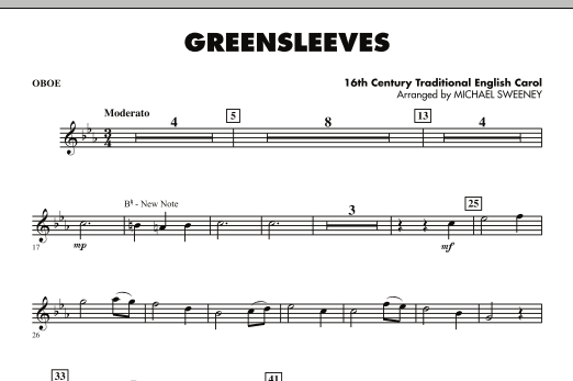 Greensleeves - Oboe (Concert Band)