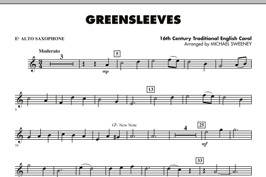 Greensleeves - Eb Alto Saxophone (Concert Band)