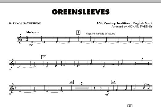 Greensleeves - Bb Tenor Saxophone (Concert Band)