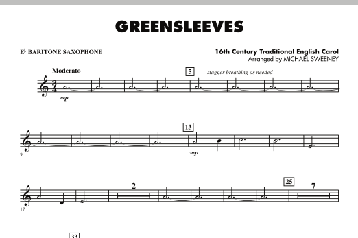 Greensleeves - Eb Baritone Saxophone (Concert Band)