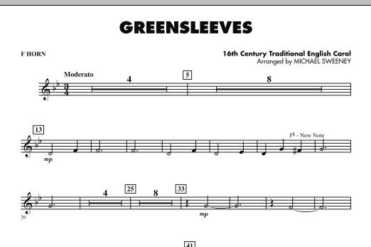 Greensleeves - F Horn (Concert Band)
