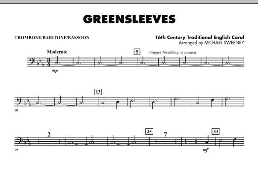 page one of Greensleeves - Trombone/Baritone B.C./BassoonASALTTEXT