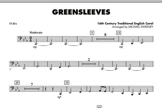 page one of Greensleeves - TubaASALTTEXT