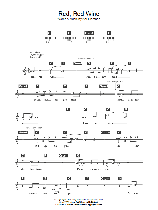 Red Red Wine Sheet Music Ub40 Keyboard