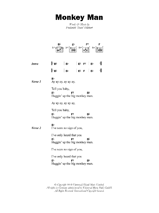 Monkey Man Sheet Music
