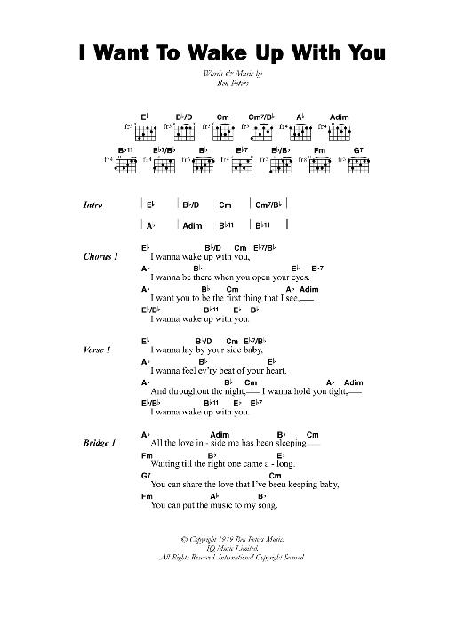 I Want To Wake Up With You Sheet Music By Boris Gardiner Lyrics
