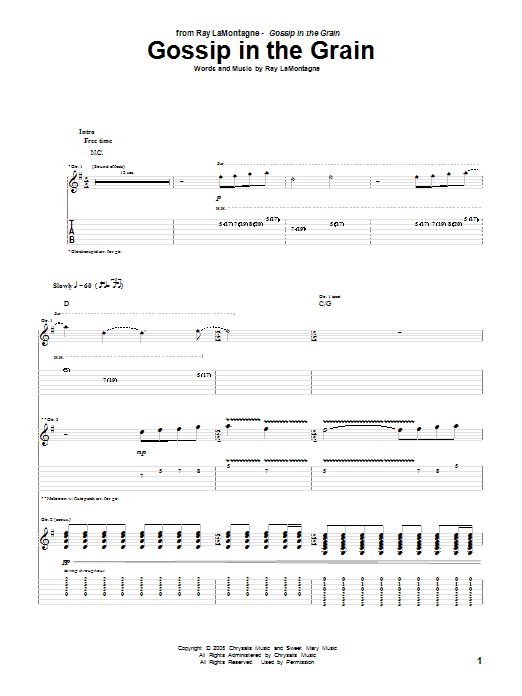 Tablature guitare Gossip In The Grain de Ray LaMontagne - Tablature Guitare