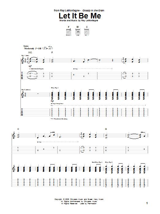 Tablature guitare Let It Be Me de Ray LaMontagne - Tablature Guitare
