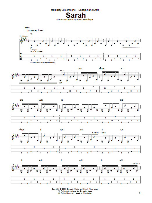 Tablature guitare Sarah de Ray LaMontagne - Tablature Guitare