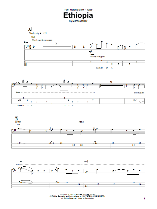 Tablature guitare Ethiopia de Marcus Miller - Tablature Basse