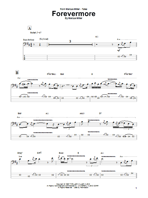 Tablature guitare Forevermore de Marcus Miller - Tablature Basse