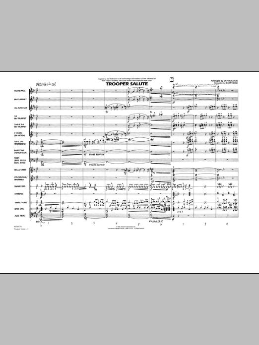 Trooper Salute (COMPLETE) sheet music for marching band by Jay Bocook. Score Image Preview.