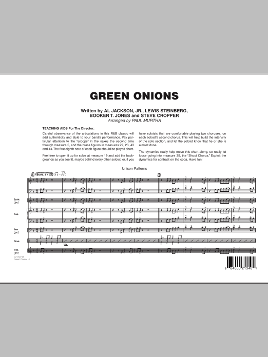 Green Onions (COMPLETE) sheet music for jazz band by Paul Murtha. Score Image Preview.